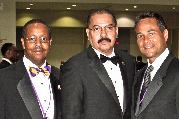 Lawrence Ball (center), shown at the Omega Psi Phi national centennial, serves as the chair of the Nu Chapter Alumni Association.